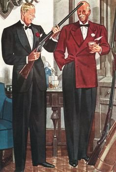 Another ad from Esquire. The fellow with the cocktail reveals the properly high-waisted trousers. Very elegant!