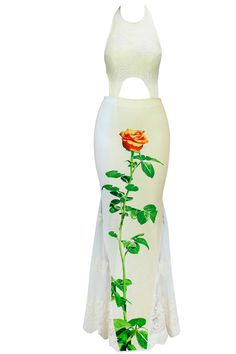 Off White Flower Morif Cut Out Maxi Dress By Nitya BaJaj. Available Only At Pernia's Pop Up Shop.