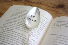 Me Time  Hand Stamped Spoon  Vintage Gift   by ForSuchATimeDesigns, $11.00