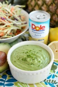 Pineapple Avocado Dressing on MyRecipeMagic.com Made with DOLE pineapple juice, fresh herbs, and a ripe avocado, for a creamy dressing great on kale or broccoli slaw!