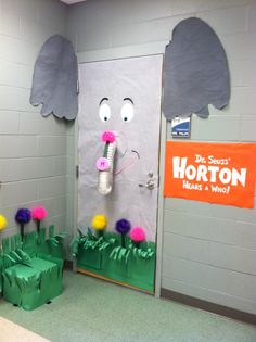 "This is an adorable door display for ""Horton Hears a Who""  by Dr. Seuss."