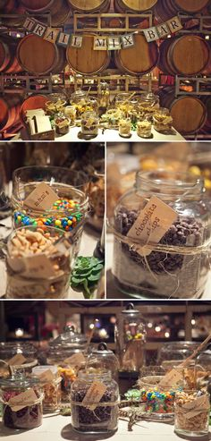 country wedding trail mix bar... Happy trails to you... until we meet again!