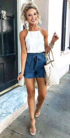 what to wear this season : white top blue shorts bag sandals