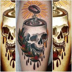 Barista-insipired tattoo by Tony Mulkes. skull coffee barista caffeine coffeelover