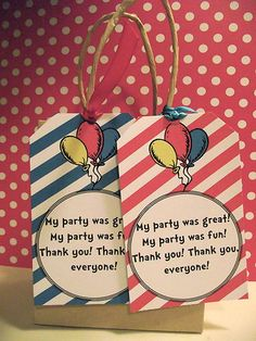 4 PACK Dr Seuss Cat in the Hat Birthday Party Favor Tags