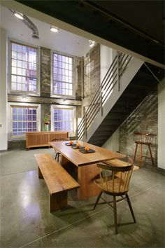 Beautiful loft!  Dining set, not so much.