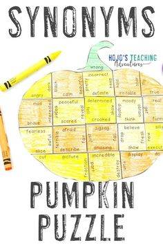 Take at look at these SYNONYMS pumpkin literacy activities. They are great for the fall or autumn months of September, October, or November. They also work well for review during Halloween or Thanksgiving. They're a great alternative to Halloween activities. Grab your set today for your elementary classroom or homeschool kids! Basic English language arts review in centers or stations is easy! #Elementary #FallLiteracy #PumpkinActivities 2nd, 3rd, 4th grade