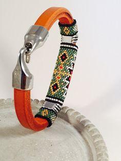 Tribal Licorice Leather Beaded Bangle by Calisi on Etsy