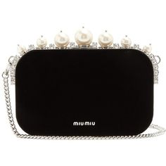 Miu Miu Pearl and crystal-embellished velvet clutch ($2,435) ❤ liked on Polyvore featuring bags, handbags, clutches, purses, black, miu miu, shoulder strap purses, velvet handbag, hand bags and pearl handbag