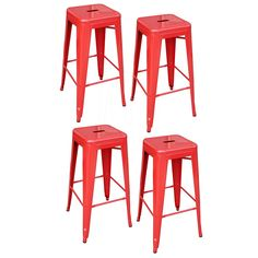Amazon.com: AmeriHome Metal Bar Stool Set, 30-Inch, Red, Set of 4: Kitchen & Dining