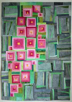 Art Quilt, abstrakte Quilt, Wandbehang-Sakura. Inspiriert durch die Sakura Blüte in der litauischen Hauptstadt Vilnius. Maschine genäht aus meiner Hand gefärbte Stoffe. Maschine-gesteppt. Polyester-Vlies. Eine hängende Ärmel hat. Maßnahmen 40,5  x 29.