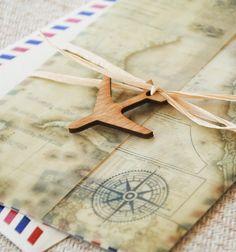 Vintage Air Mail Destination Wedding Invitation (Mexico) - Design Fee on Etsy, $45.00
