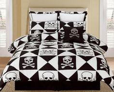 skull and crossbones bedding set
