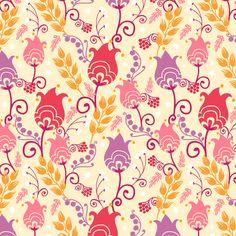 Folk Tulips fabric by oksancia on Spoonflower - custom fabric