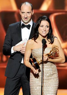 Tony Hale (who won his own Emmy earlier in the night) crashed Veep costar Julia-Louis Dreyfus during her Best Actress in a Comedy acceptance speech during the Emmy Awards 2013.