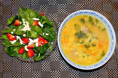 Italian Wedding Soup with Strawberry Spinach Salad with Feta and Balsamic Vinaigrette
