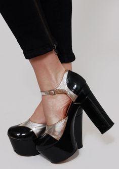 Vintage 70s PLATFORM Shoes Black PATENT Leather by LotusvintageNY, $225.00