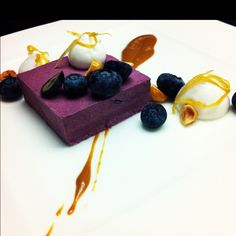 Blueberry, hazelnut and lemon dessert.