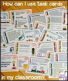 Task cards are a great option for reinforcing skills and offering enrichment because unlike worksheets, they can be used again and again. You can make your own to target specific areas and of course there are many for sale, including mine (pictured above). Print on card stock, ideally in color, but grayscale will work too. If you laminate them, they will last for years. You can