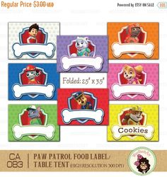 This Digital Printable Paw Patrol Food Label Perfect for your event! You will Get: ~ 8 labels with size each, folded size is ~ 4 Winnie The Pooh Birthday, Girl 2nd Birthday, 4th Birthday Parties, Paw Patrol Birthday Cake, Paw Patrol Party, Cumple Paw Patrol, School Decorations, Tag Design, Food Labels