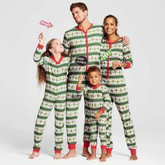 Green Graphic Stripes Family Matching One Piece with Red Cuff