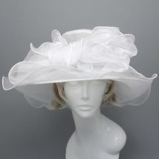 Church Kentucky Derby Dress White Layered Organza Hat Wide Brim Wedding TeaParty