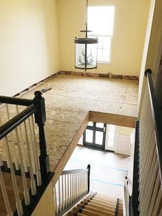 Two story foyer conversion.one section of our foyer is three stories - wasted space - this is a great fix to add a little extra space to the second floor Home Upgrades, Home Renovation, Home Remodeling, Farmhouse Renovation, Two Story Foyer, Stair Landing, Room Additions, Foyer Decorating, Loft Spaces