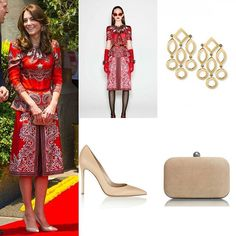 """On her first day visit to India, the Duchess' dress came from Alexander McQueen, she also added """"Temple of Heaven"""" earrings sold at $1,495 to match her dress, she combine her red dress with Russell & Bromley 'Curvy Clutch' in suede, sold at £165.00 and a new pair """"Gianvito Rossi Leather Pumps in Nude"""". 4/2016"""