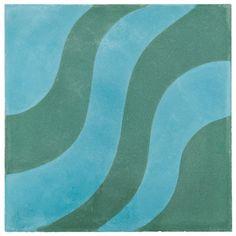 "ANN SACKS Eastern Promise by @martynlbullard 7-7/8"" x 7-7/8"" aladdin a concrete field in azure and emerald #BosDesignMarket"