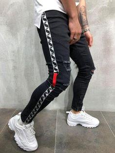 Men Skinny Fit Ripped Thlines Short Ankle Jeans - White 3832 - 33 x 29 Pantalon Streetwear, Streetwear Jeans, Streetwear Fashion, Shoes With Jeans, Jeans Pants, Ripped Jeans, Ankle Jeans, Slim Jeans, Denim Joggers