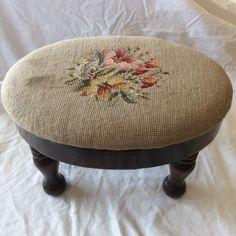Antique needlepoint footstool Foot Stools, Antique Furniture, Needlepoint, Ottoman, Chair, Antiques, Home Decor, Antiquities, Antique