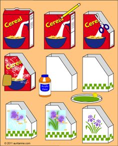 Illustration of how to make magazine or book holders from empty cereal boxes.