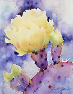 Puple Pricklies by Yvonne Joyner Watercolor ~ 20 in. including mat x 16 in including mat