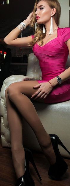 """""""I ❤️ her tight mini dress and high heels, she has beautiful and sexy legs💋💋💋 """" Awesome pink mini dress with ultra sky high stiletto heels! Sexy legs and an amazing face! Sexy Dresses, Cute Dresses, Nylons, Clubbing Outfits, Stockings Legs, Sexy Heels, High Heels, Black Heels, Stiletto Heels"""