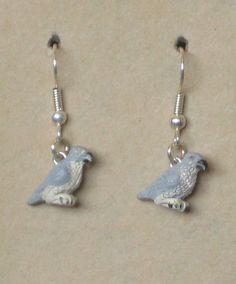 Hand Painted Peregrin Falcon Earrings by tribeofthefaefolk on Etsy