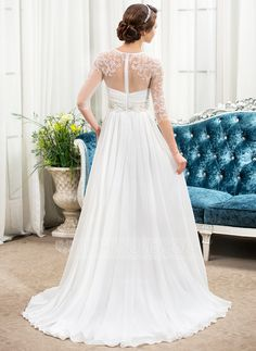 A-Line/Princess Scoop Neck Sweep Train Chiffon Tulle Wedding Dress With Ruffle Beading Sequins (002057489)