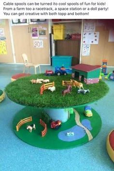 Cable Drum Ideas For Children, Cable Reel Ideas For Kids, Kids Farm Bedroom, Boys Tractor Bedroom, Artificial Grass Ideas, Fake Grass, Artificial Plants, Outdoor Play, Childcare