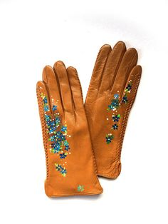Camel Genuine Leather Gloves Blue Warm Women Hands Warmers e7986ae2b5aa