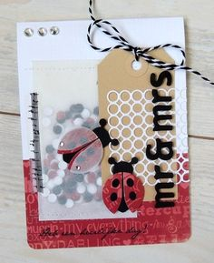 Card by DT member Sanne with Collectables Bee & Lady Bird (COL1356) and Creatables Confetti (LR0342) by Marianne Design