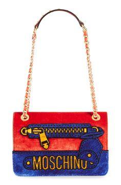 Moschino Velvet Convertible Shoulder Bag
