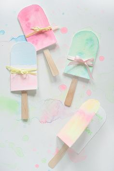 Kindergeburtstags Karte Eis am Stil in Pastell *** Kids birthday card Idea with pastell ice lollies