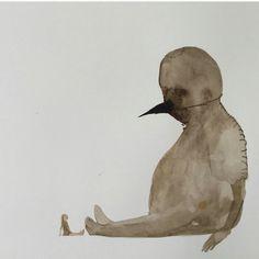 Yigit Can Alper Art Is Dead, Visual Comfort, Watercolour, Illustration, Ink Drawings, Bird, Creative, Bamboo, Inspire