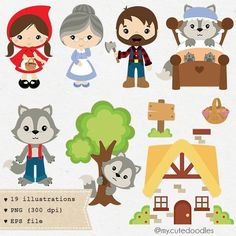 Little Red Riding Hood clipart, Wolf clipart, cute woodland, boy and girl woodland theme, fairytale clip art - Commercial use - Wolf Clipart, Vector Clipart, Woodland Theme, Woodland Animals, Woodland Nursery, Clip Art, Doodles Bonitos, Red Riding Hood, Little Red