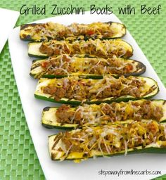 Grilled Zucchini Boats with Beef - low carb recipe