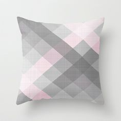 Pink Linen Gingham Throw Pillow by Neri Han - $20.00