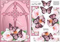 Fancy Cross Pastel Roses & Butterfly Pyramid & Decoupage