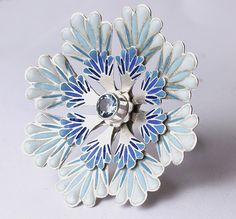 Ring | Barbara Macleod.  Layered silver and blue vitreous enamel, aquamarine stone.