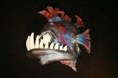 Raku Pottery, Pottery Sculpture, Rockhopper Penguin, Big Teeth, Clay Cats, Fish Ornaments, Fish Wall Art, Baby Turtles, Little Fish