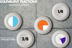 """""""Get children up and moving with this fun, kinesthetic fraction activity! Children are given a fraction and dance around to music, trying to find its equivalent. Written and visual representations of fractions are used to assess children's understanding! Fraction Games For Kids, Fraction Activities, Math Games, Math Activities, Learning Fractions, Kinesthetic Learning, Math Fractions, Maths, Multiplication"""