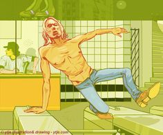 Iggy Pop jumping the turnstile, getting away unawares from the Baseball Furies. #iggypop